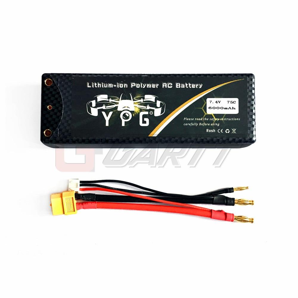 YPG 7 4V 6000mAh 75C 2S Grade A Li poly Lipo Battery Hard Case with XT60