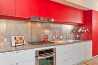 2017 newest design high gloss lacquer kitchen cabinets red color modern 2PAC kitchen furnitures L1606087