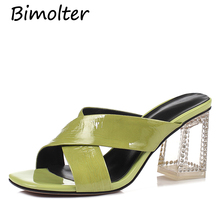Bimolter Women Transpatent Heels Fashion Mules Patent Leather Cystal 7cm Hihg Pumps Slippers Green Pink Shoes C024