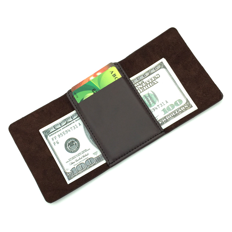 цена на New arrival Solid Genuine Leather Vintage money clips wallet mini men's brand purse with magnet hasp brown black