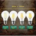 LightInBoxA60 220V 240V 4W 8W 12W 16W Edison Lamp Lamp Antique Retro Vintage Led  LED Bulb E27 E14 Filament Light Glass Bulb