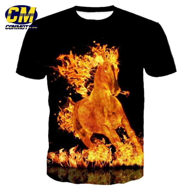 7ef4445196cdb5 ConMotion Burning Fire Horse Printed Fashion Men s Short Sleeve T-Shirt EUR  Size