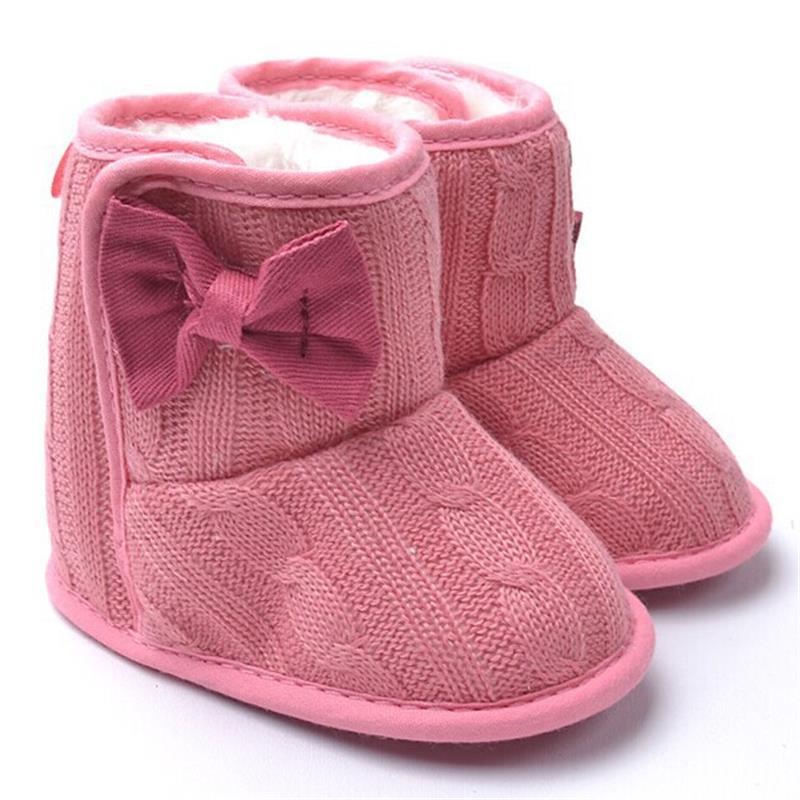 3812e7bca كنيتيد فو الصوف سرير حذاء الثلوج طفل طفل bowknot الصوف يام الفراء متماسكة  الأحذية