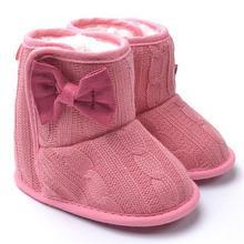 Knited Искусственного Руно Шпаргалки Снег Сапоги Малыша Детская Обувь Бантом Шерстяные Ям Мех Вязать Обувь