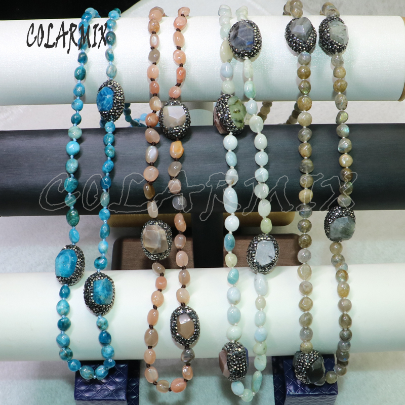 2Pcs Wholesale jewelry necklace Fashion long beaded necklace handmade jewelry fashion gift for lady beaded strand