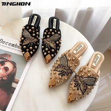TINGHON Women Slippers Lady Mules Fashion Bees Rivet Half Flat Slides For Spring Autumn Casual Size 35-39