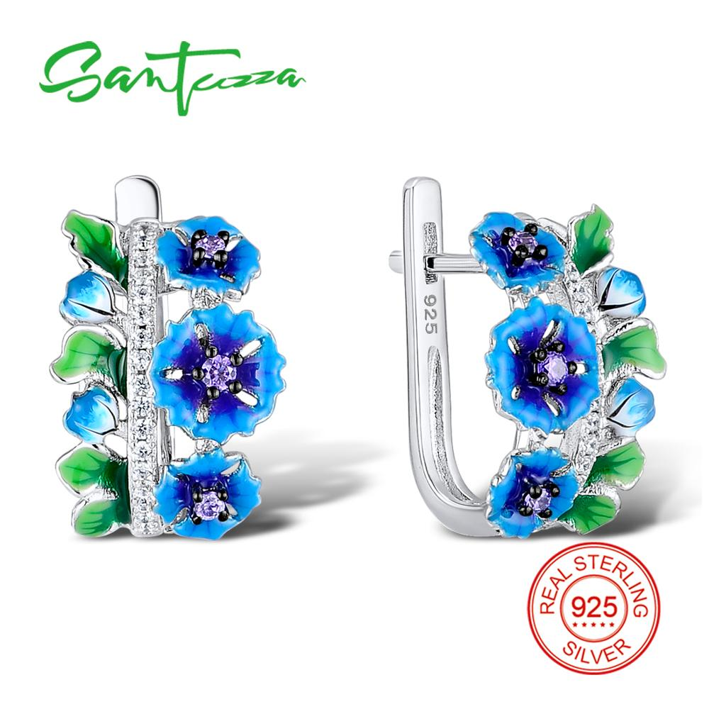 Santuzza Jewelry Set HANDMADE Enamel Blue Flower Dark Purple CZ Stones Ring Earrings 925 Sterling Silver Women Jewelry Set