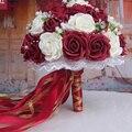 Бордовый и Белый Цветами Ручной Работы Декоративные Искусственные Цветы Розы Жемчуг Невесты Свадебное Кружева Акценты Свадебные Букеты