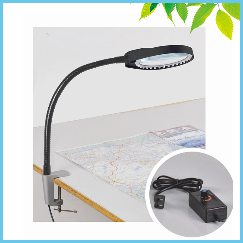 Black 36 LED Illuminated 8X Clip-on Desktop Magnifying Glass Free Angle Adjustment Magnifier PCB SMD Inspection Repair Tools 10x large desk clip on magnifying glass lamp lighted illuminated white optical glass magnifier folding stand for pcb inspection
