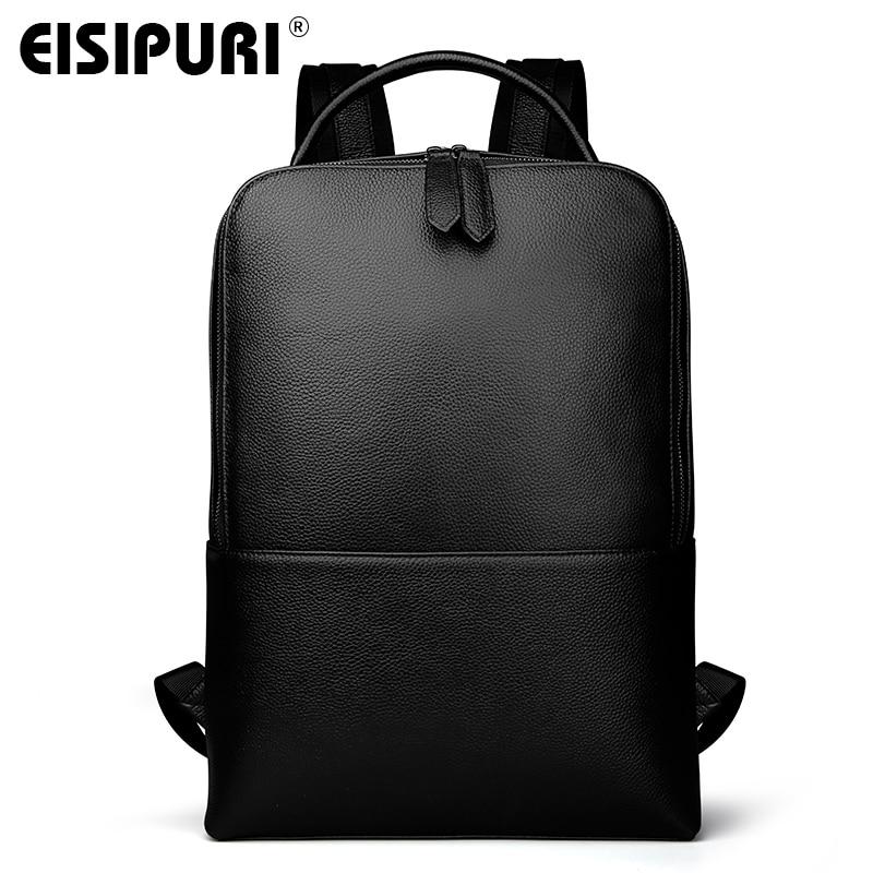 EISIPUR mode hommes 100% en cuir véritable sac à dos mâle de haute qualité étanche sac à dos pour ordinateur portable 15.6 sac d'école de voyage