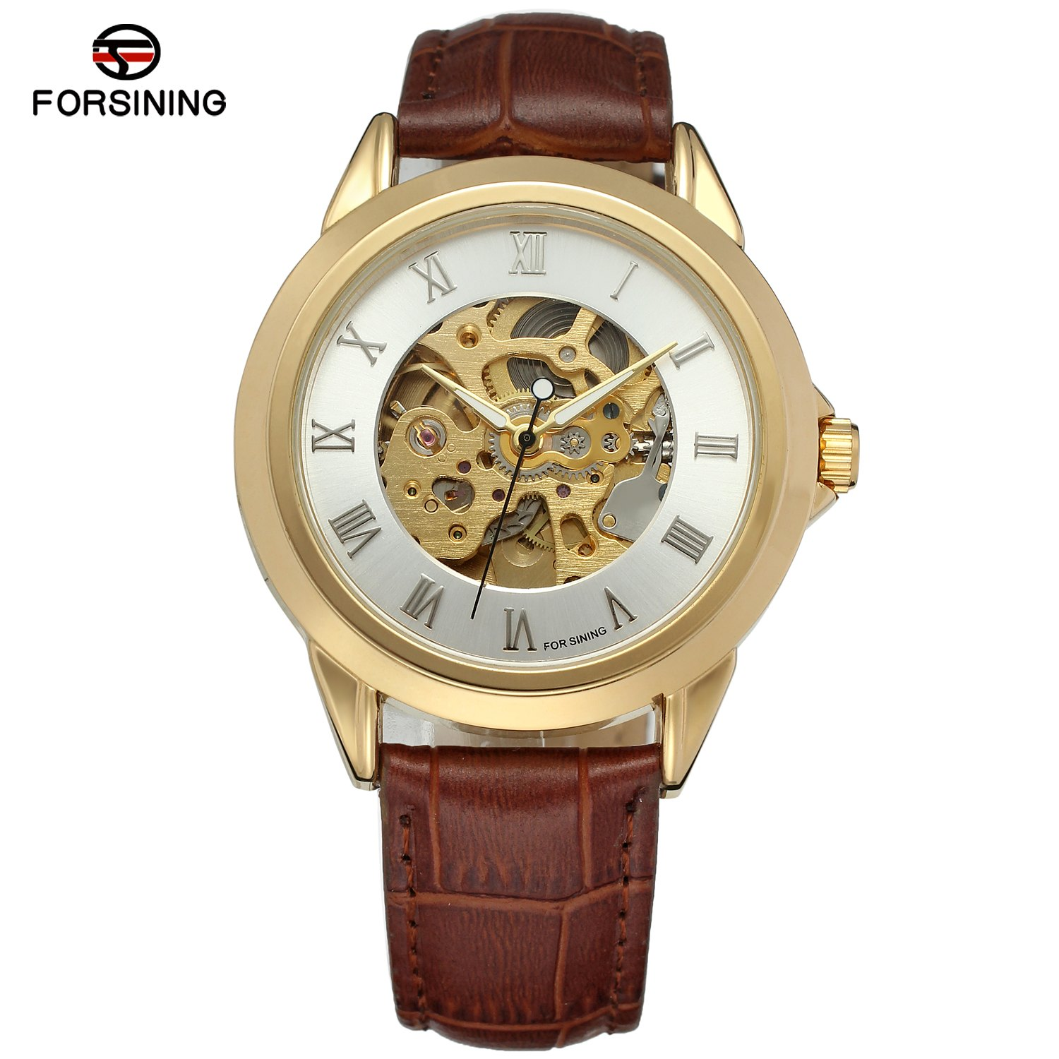 FORSINING Men Watches Top Brand Luxury Roman Numerals Gold Case Leather Strap Automatic Mechanical Skeleton Dress Wrist Watch forsining top luxury brand rose gold skeleton clock uhren automatic mechanical watches men business leather watch orologio uomo