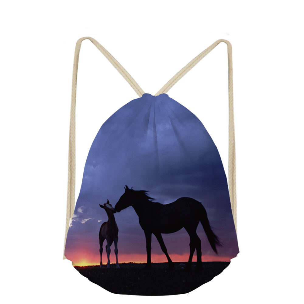 Noisydesigns Women Cartoon 3D Animal Horse Printing Casual Makeup Drawstring Bags Cute Backpack Girls School Pocket Bag Shoe