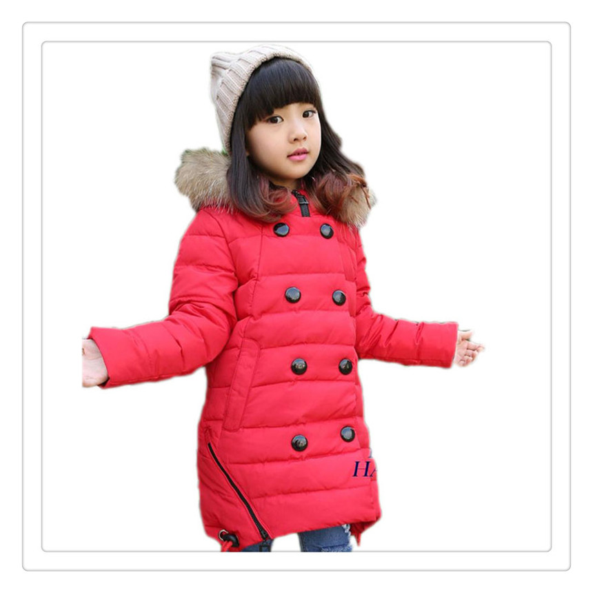 ФОТО Winter Children Down Jackets Girls Long Thicken Down Outerwear Coats Girls Fur Collar Duck Down New 2017 Parkas Age 5~15 student