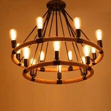 Стиле лофт Американский Промышленный 14 голову Черный Цвет Конопли Веревки Подвесной Светильник Гостиной Лампа Кафе/Бар Лампа Эдисона светодиодные лампы