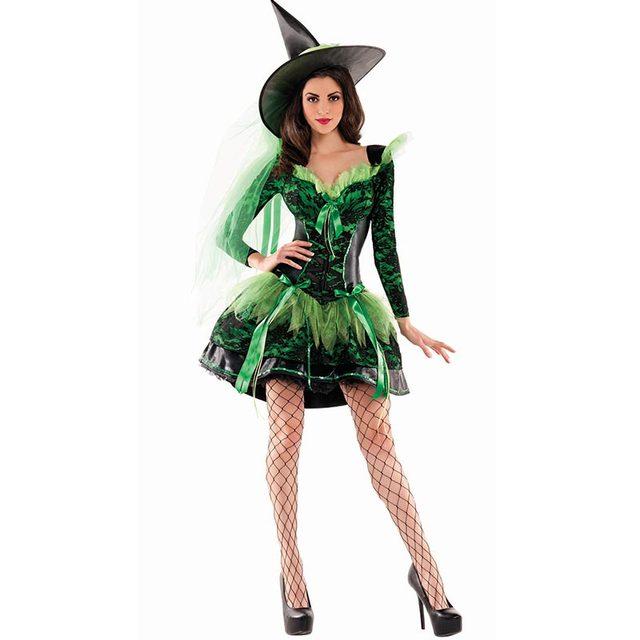 Donna Costumi di Halloween Wicked Smeraldo Strega Shaper Costume L1009 1ab52e59df0c