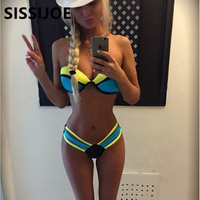 2015 Bandage Bikini Bright Multicolor Sexy Triangle Swimsuit Beachwear Bikini Set For Women Top And Bottom
