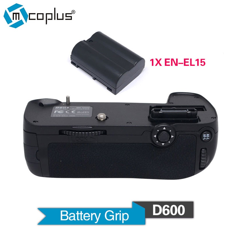 Mcoplus Venidice VD-D600 Vertical Battery Grip with 1pcs EN-EL15 Battery for Nikon DSLR D600 D610 Camera as MB-D14 Meike MK-D600 meike mk dr750 vertical battery grip pack holder for nikon d750 rechargeable li ion battery for nikon en el15 cleaning kit