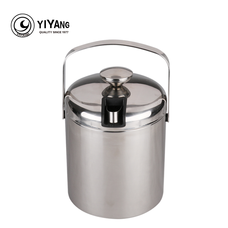 1 3L double wall stainless steel ice bucket with handle ice clip Practical Bar Container Barrel
