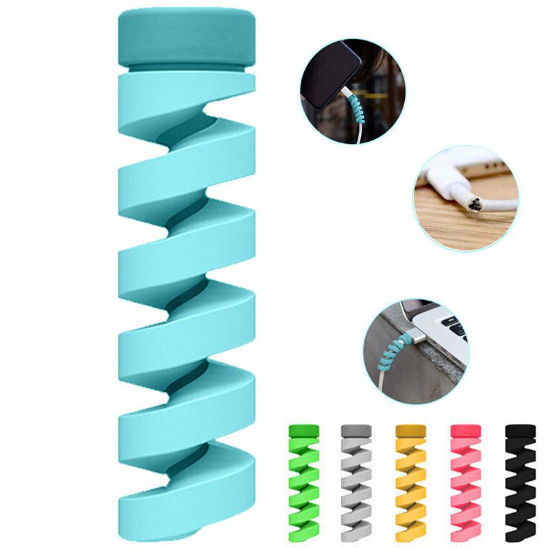 Free Shipping 2Pcs Cable Protector Silicone Bobbin Winder Wire Cord Organizer Cover For Apple Iphone USB Charger Cable Cord R25