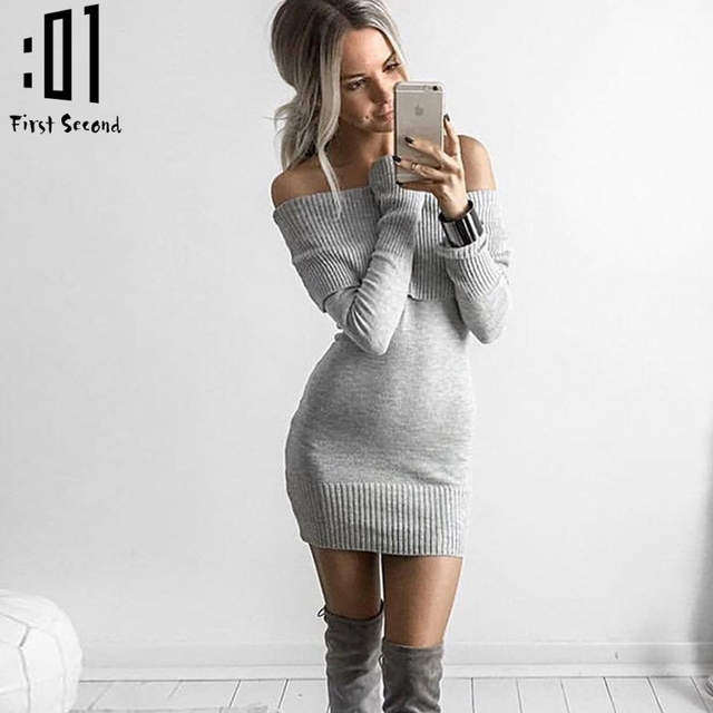2017 Spring Women Mini Dress Slash Neck Bodycon Women Sweater Dress Casual Long  Sleeve Off Shoulder 354fbbfd73ab
