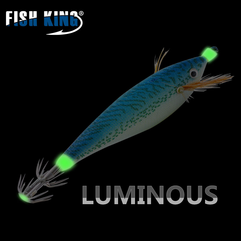 FISH KING 5pcs 11cm 15g/pcs Fishing Lure Squid Lures Wood Shrimp Bait Wobbler Luminous Squid Hook Light Jigs For Fishing Tackle fish king 5pcs lot 10cm 6g 5 color fishing lure luminous squid octopus hook kunstaas leurre souple peche pesca vissen tackle