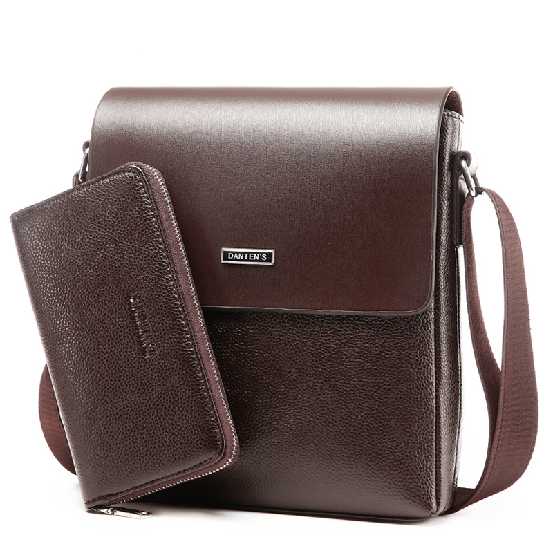 ФОТО Two sets bags 2017 new European and American fashion men shoulder bag. Solid business messenger bag. High-quality PU material.