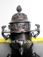 00509 China bronze incense burner two dragon statues (A0314)