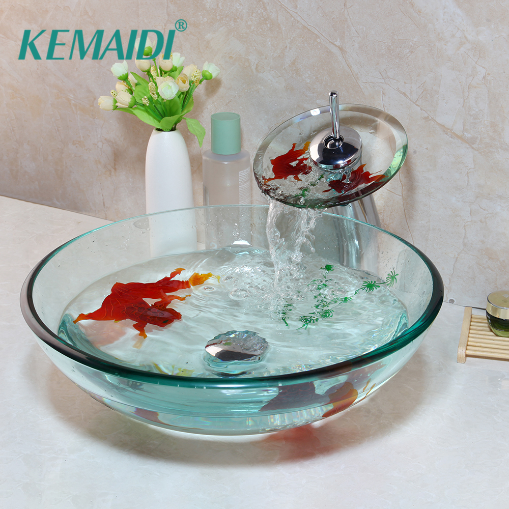 KEMAIDI Golden Fish Bathroom Washbasin Faucets Sets Tempered Basin Glass Sink With Water Faucet Basin Set&Pop Up Drain