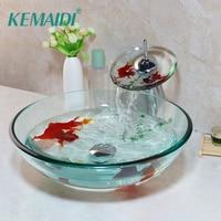 KEMAIDI Golden Fish Bathroom Washbasin Faucets Sets Tempered Basin Glass Sink With Water Faucet Basin Set&Pop Up Drain