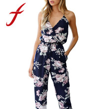 Feitong Women Sexy Backless Jumpsuit Sleeveless V-Neck Floral Printed Bandage Party Playsuit Overalls Trousers macacao 2018 New(China)