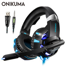 ONIKUMA K2 Casque PS4 Gaming Headset PC Gamer Stereo Over Ear Bass Headphones with Microphone for Laptop Tablet/New Xbox One