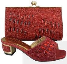 Versandkostenfrei! Mode frau italienischen passenden schuhe und taschen set, partei italienischen schuh-und taschen mit strass set, rot! Hp1-46