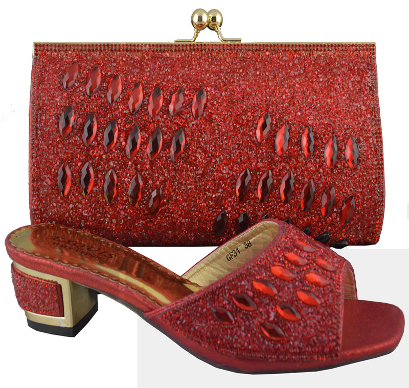 ФОТО Free Shipping!Fashion woman italian matching shoes and bags set,party Italian shoe and bag set with rhinestone,red!HP1-46