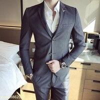 Изготовленный на заказ Новый мужской костюм из трех частей блейзеры брюки жилеты классическая одежда для вечеринки Повседневная Деловая о