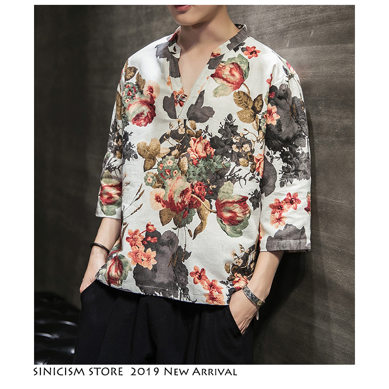 Sinicism Store Chinese Style V-Neck Tshirts Men 2019 Summer Casual Vintage Mens T-shirt   Fashion Print Male T Shirts Oversize