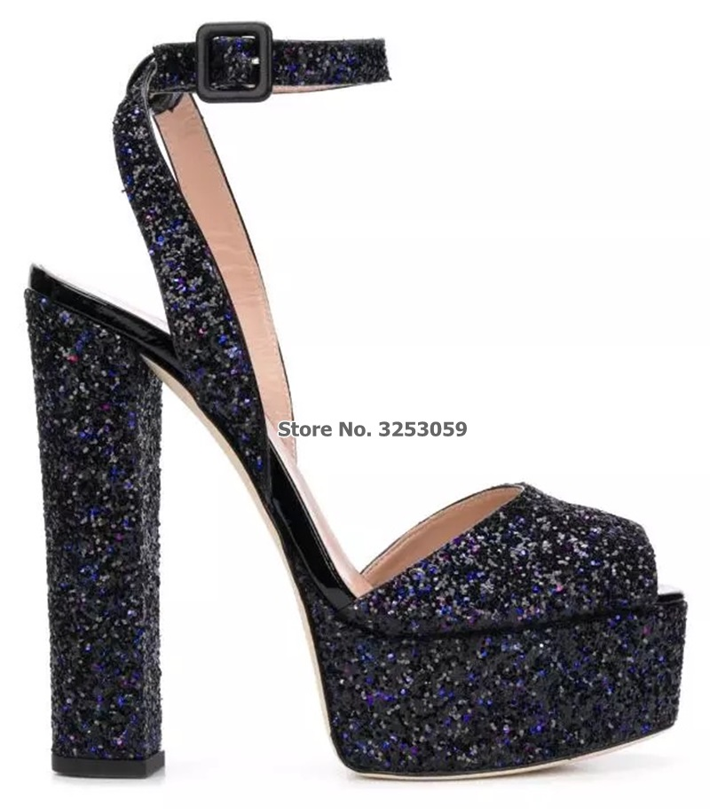 ALMUDENA Bling Bling paillettes plate-forme sandales talons Chunky boucle sangle robe chaussures multi-couleur scintillant chaussures de mariage pompesALMUDENA Bling Bling paillettes plate-forme sandales talons Chunky boucle sangle robe chaussures multi-couleur scintillant chaussures de mariage pompes