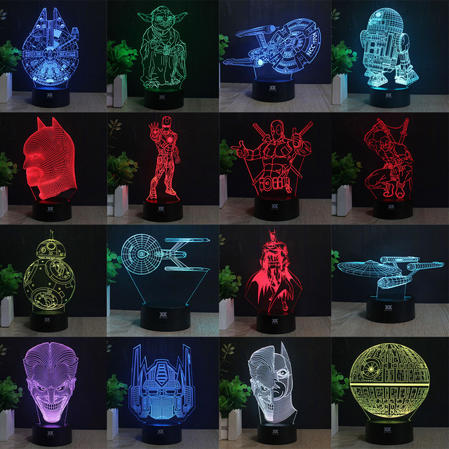3D Lamp Batman Star Wars Children's nightlight Visual Led Night Lights Illusion Lamparas With controller and without controller