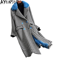 AYUNSUE 2019 New Wool Blends Coats Natural Lamb Fur Liner Houndstooth Real Fur Coat Winter Jacket Women Mink Collar 18629 YQ2030