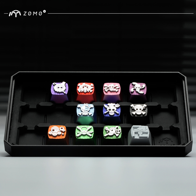 1pc ZOMO aluminum alloy full metal Mechanical keyboard key caps for The straw hat Pirates CNC engraving