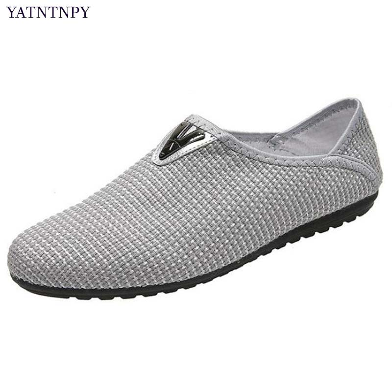 YATNTNPY New Brand Mens Casual Shoes, Breathable Hemp Mesh Shoes Man Comfortable Moccasins,Slip-On driving Loafers flat sapatos