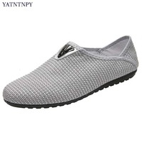 YATATAPY New Brand Men S Casual Shoes Breathable Hemp Mesh Shoes Man Comfortable Moccasins Slip On