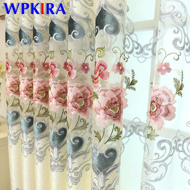 New Luxury European Chenille Water Soluble Embroidery Screen Curtains For Living Room Bedroom Window Curtain Sheer Cloth M024-40