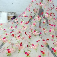 French Lace Fabric High Quality African Tulle Embroidered flower transparent net Lace Fabric For Wedding