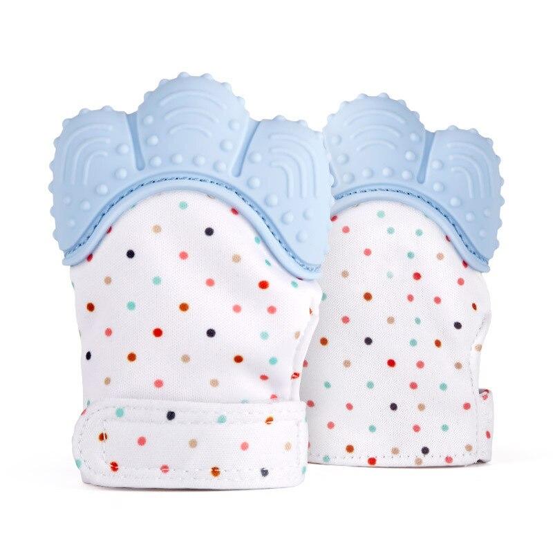1pce Dentição Do Bebê Mitten, Auto-Alívio Da Dor Calmante Mordedor Luva Da Mão, bebê Brinquedo Luva Luva de Silicone Mordedor BPA Livre lavagem fácil