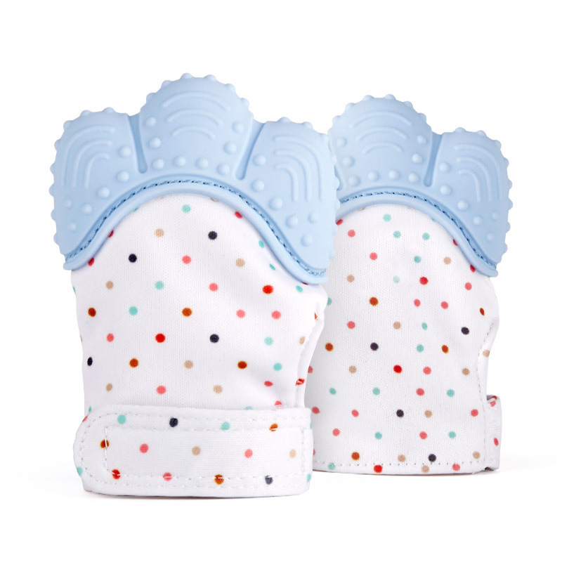 1pce Baby Teething Mitten,Self-Soothing Pain Relief Hand Glove Teether,Baby Glove Silicone Teether Mitten Toy BPA Free Easy Wash