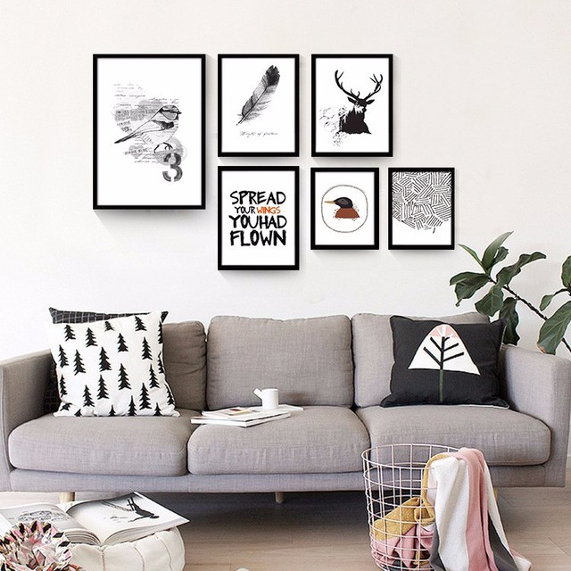 New art picture black and white canvas prints wall art modern painting home decorative letters birds