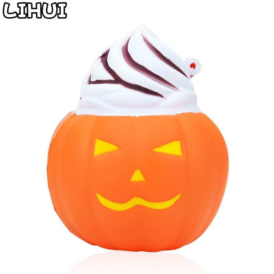 Squishy Halloween citrouille Antistress jouets pour enfant mignon lente augmentation doux soulagement du Stress amusant pendentif Squishies jouet cadeau fête décor