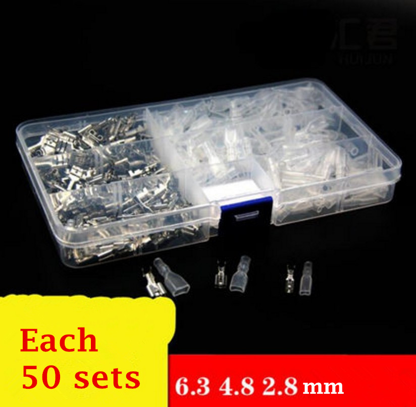 150pcs/lot Crimp Terminal Splice Female Spade Connector Splice With Case 2.8mm 4.8mm 6.3mm Each 50 sets asus x756uv ty388t [90nb0c71 m04370] black 17 3 hd i3 7100u 4gb 1tb gf920m dvdrw w10