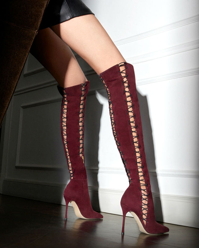 Hot selling wine red suede high heel boots sexy pointed toe lace-up thigh high boots cut-outs thin heels boots woman boots купить