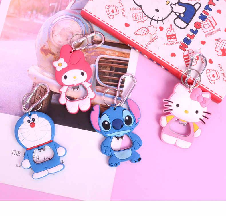 5 Pcs My Melody Ponto Doraemon Borracha Plástica de Aço Inoxidável Cozinha de Casa Vinho Bottel Opener Com Chaveiro Anel